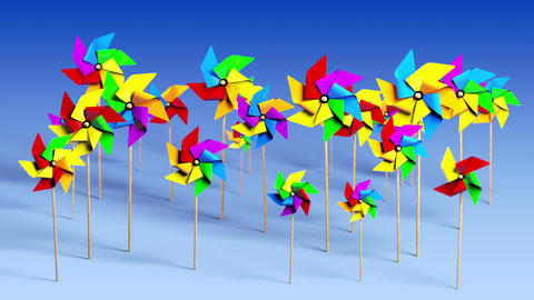 Spinning Pinwheels in the Wind Animation