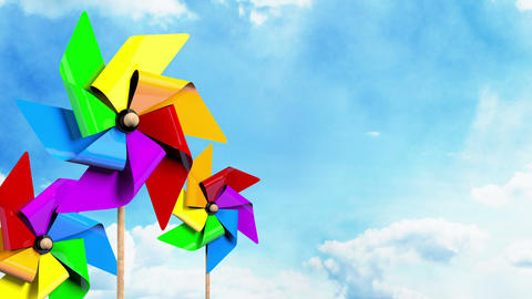 Colored Spinning Pinwheels on the Sky Stock Video Footage