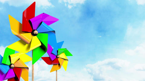 Colored Spinning Pinwheels on the Sky Animation