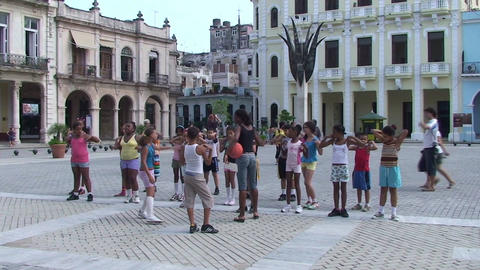 Plaza Vieja school class gym Stock Video Footage