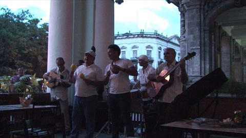 Salsa musicians 3 on terrrace part 1 of 11 Footage