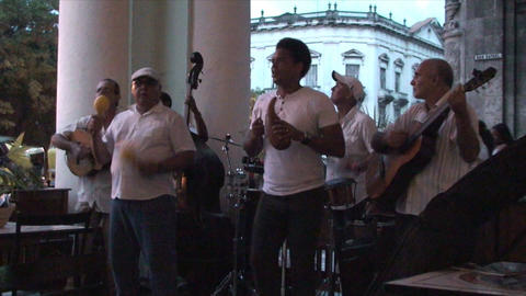 Salsa musicians 3 on terrrace part 3 of 11 Stock Video Footage