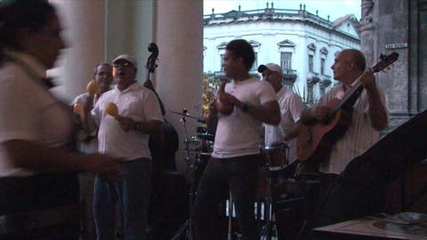 Salsa musicians 3 on terrrace part 3 of 11 Footage