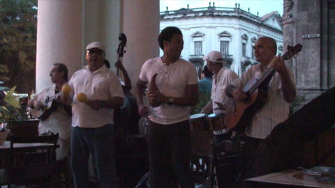 Salsa musicians 3 on terrrace part 5 of 11 Stock Video Footage