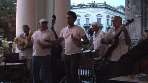 Salsa musicians 3 on terrrace part 5 of 11 Footage