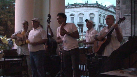 Salsa musicians 3 on terrrace part 7 of 11 Stock Video Footage