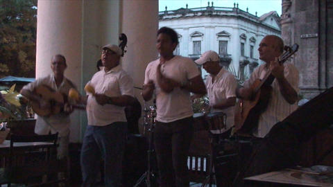 Salsa musicians 3 on terrrace part 9 of 11 Stock Video Footage