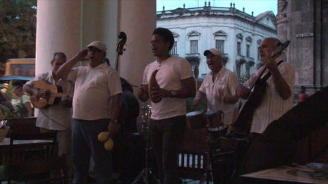 Salsa musicians 3 on terrrace part 11 of 11 Stock Video Footage