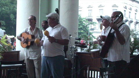 Salsa musicians on terrrace part 2 of 9 Stock Video Footage