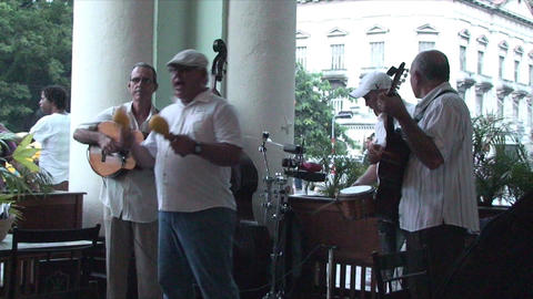 Salsa musicians on terrrace part 4 of 9 Stock Video Footage