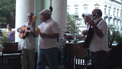 Salsa musicians on terrrace part 8 of 9 Stock Video Footage