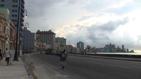 Traffic on Malecón boulevard panshot Stock Video Footage