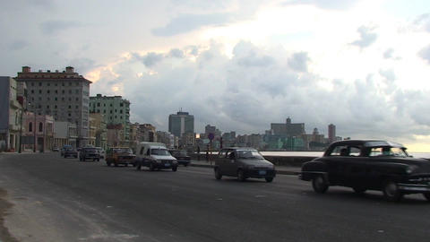 Traffic on Malecón boulevard with cloudy sky Stock Video Footage