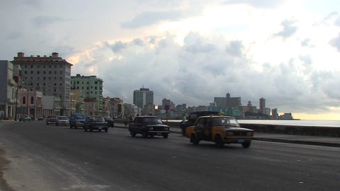 Traffic on Malecón boulevard with cloudy sky Footage