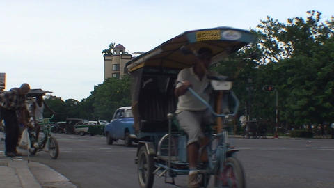 Tricycles passing by Stock Video Footage