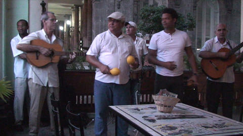 Salsa musicians 2 on terrrace part 2 of 9 Stock Video Footage