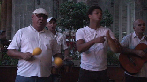 Salsa musicians 2 on terrrace part 4 of 9 Stock Video Footage