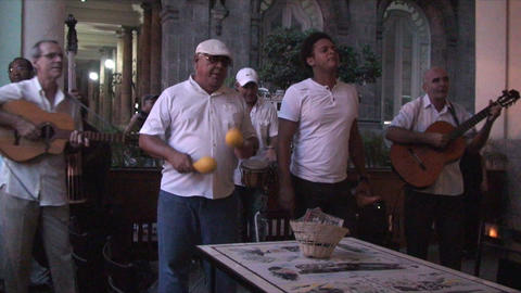 Salsa musicians 2 on terrrace part 6 of 9 Stock Video Footage
