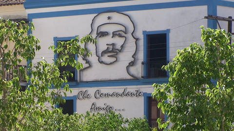Che Guevara on building Stock Video Footage