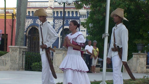 Cuban flag lowering Stock Video Footage