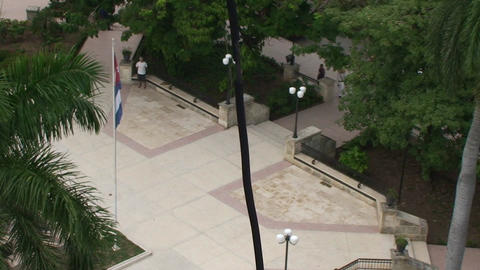 Cuban flag lowering birdsperspective Stock Video Footage