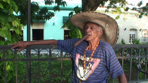 Cuban man with sigar in mouth Stock Video Footage