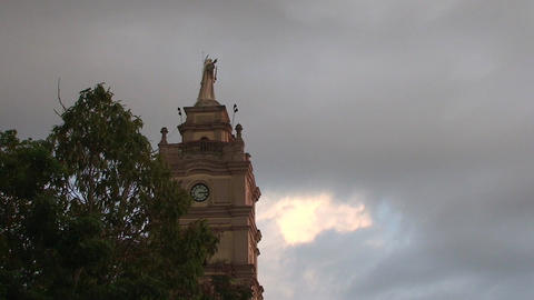 Jesus statue on church tower Footage