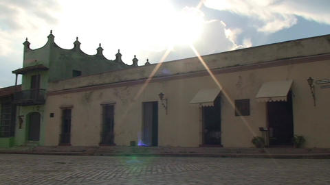Plaza San Juan de Dios panshot, sunset Stock Video Footage