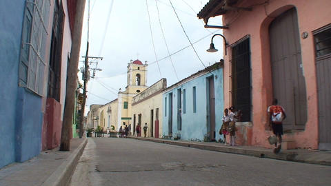 Streetview colonial buildings schoolchildren Stock Video Footage