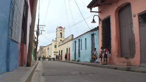 Streetview colonial buildings schoolchildren Footage