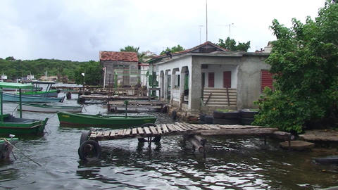 Cienfuegos Castillo de Jagua harber panshot Stock Video Footage
