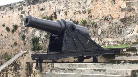 Cienfuegos Castillo de Jagua island cannon Stock Video Footage
