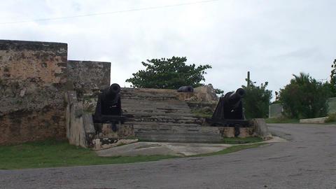 Cienfuegos Castillo de Jagua island cannons Stock Video Footage