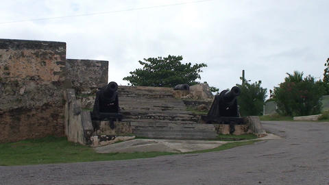 Cienfuegos Castillo de Jagua island cannons Stock Video Footage