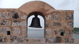 Cienfuegos Castillo de Jagua old bell zoom out Stock Video Footage