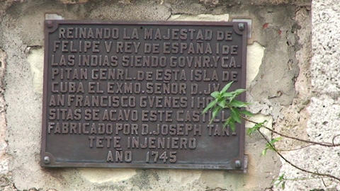 Cienfuegos Castillo de Jagua sign on wall Stock Video Footage