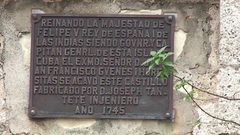 Cienfuegos Castillo de Jagua sign on wall Stock Video Footage