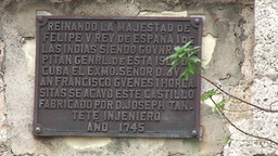 Cienfuegos Castillo de Jagua sign on wall Footage