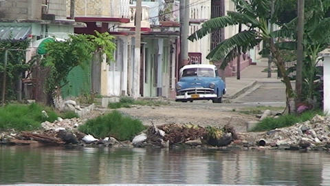 Cienfuegos Harber oldtimer near the waterfront Stock Video Footage