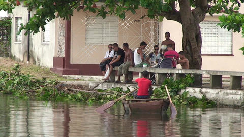 Cienfuegos Harber people near the waterfront Stock Video Footage