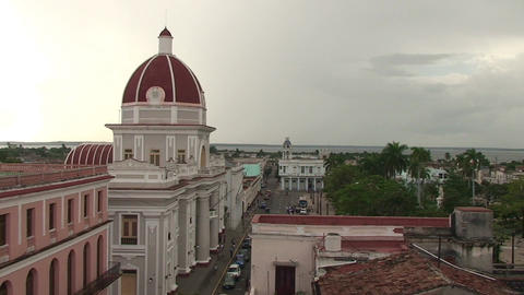 Cienfuegos Museo Provincial from above Stock Video Footage
