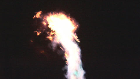 Bursts of fire from hot air balloon burner Footage