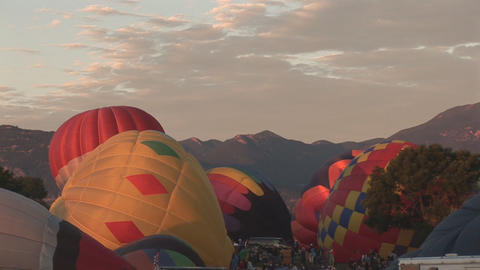 Hot air balloons filling up Footage