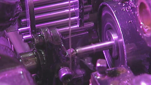 Closeup of metal processing on a lathe Live Action