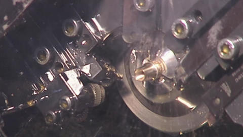 Closeup of metal processing on a lathe Footage
