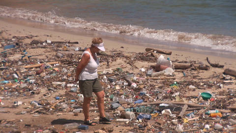 Pollution on beach on Bonaire Stock Video Footage