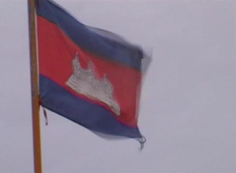 Cambodian flag Footage