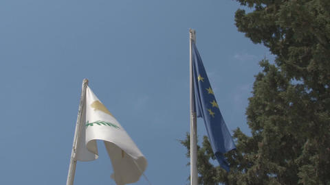 Cyprus and EU flag Footage