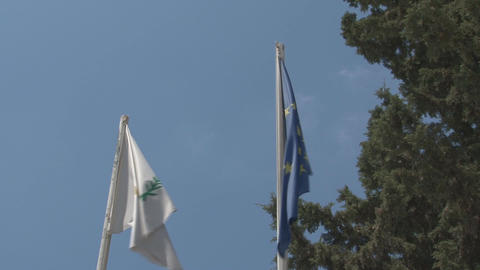 Cyprus and EU flag Stock Video Footage