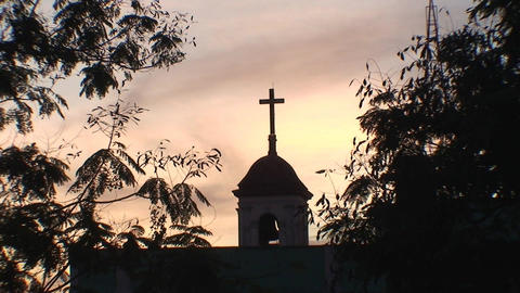 Cuba Sancti Spiritus Church at sunset Stock Video Footage